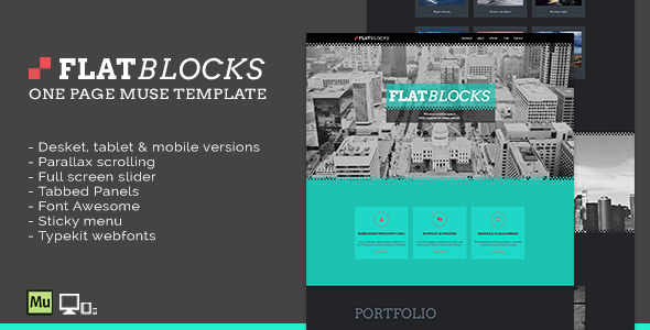 Flatblocks - One Page Muse Template - Creative Muse Templates