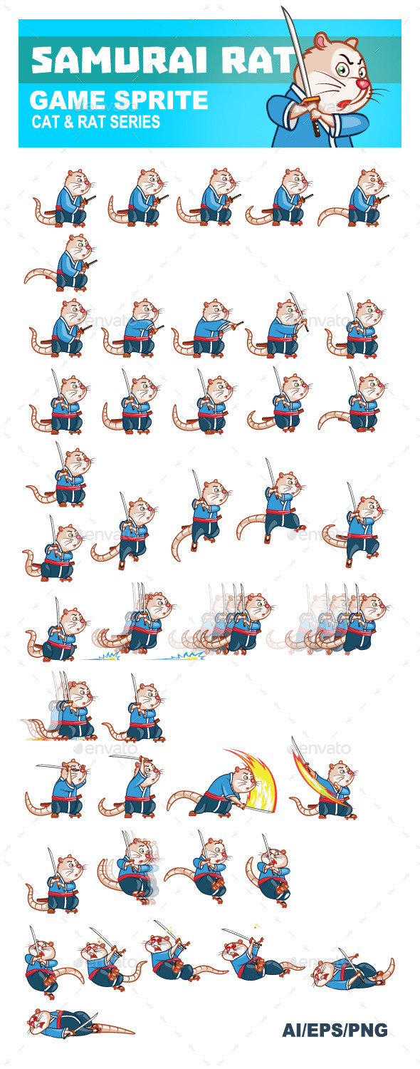 GraphicRiver Samurai Rat Game Sprite 8893282
