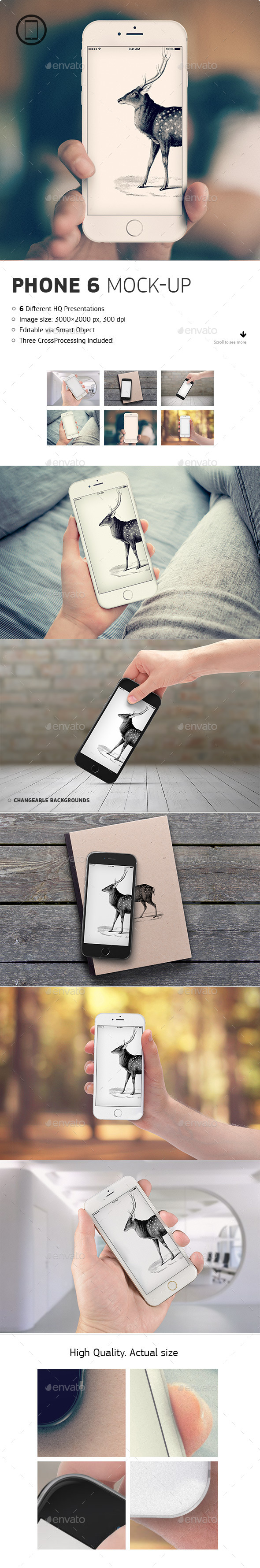 GraphicRiver Realistic Phone 6 Mock-up 8893906