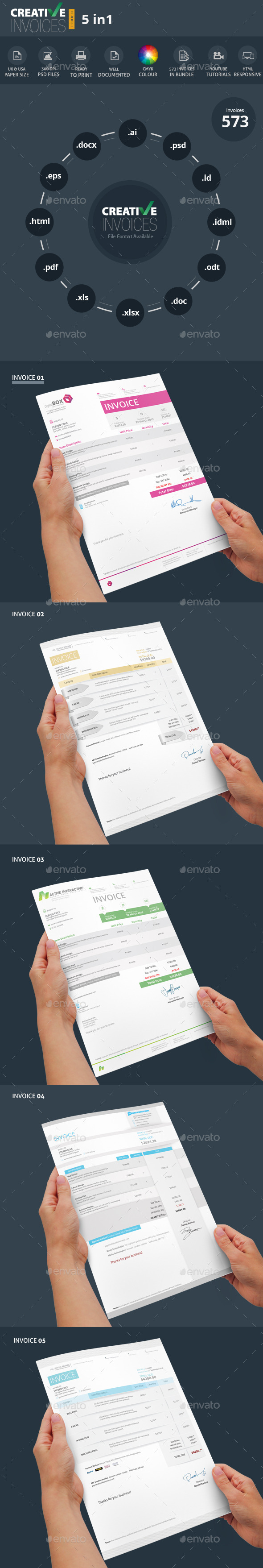 GraphicRiver Invoices Bundle 5 in 1 8894002