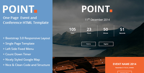 ThemeForest Point One Page Event and Conference Template 8679080
