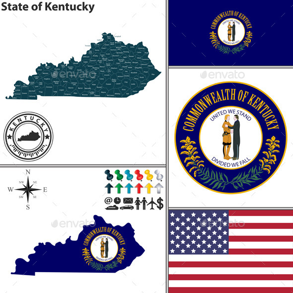 GraphicRiver Map of State Kentucky USA 8894011