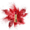 Red lipstick with powder explosion isolated on white - PhotoDune Item for Sale