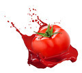Red tomato with juice splash isolated on white - PhotoDune Item for Sale