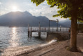 View of Como lake on sunset with pier in Italy - PhotoDune Item for Sale