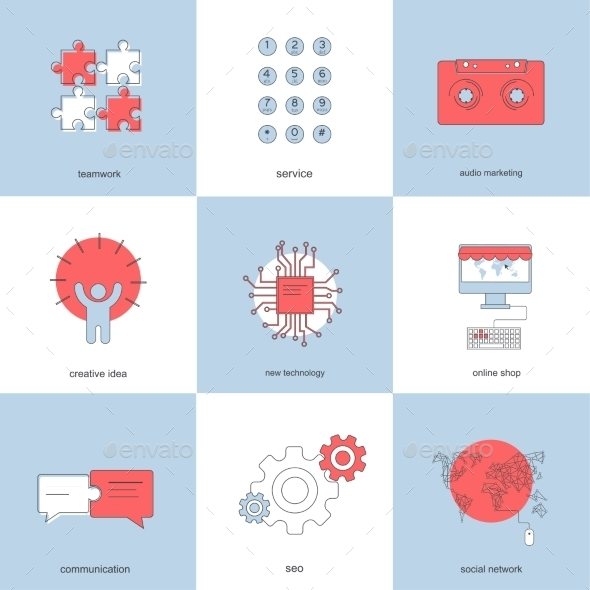 GraphicRiver Vector Modern Flat Backgrounds Set 8894188