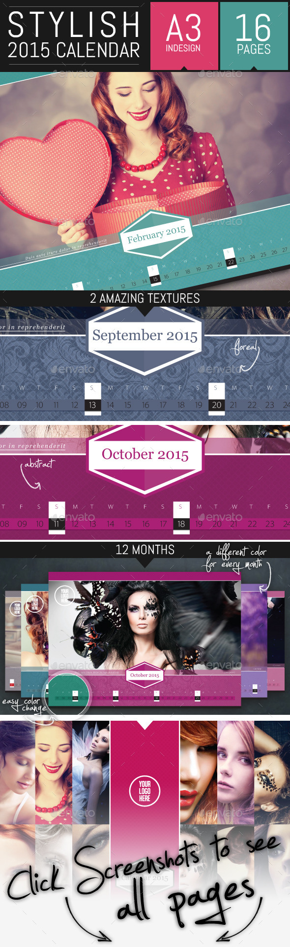 GraphicRiver Stylish Corporate 2015 Horizontal Calendar Template 8894208