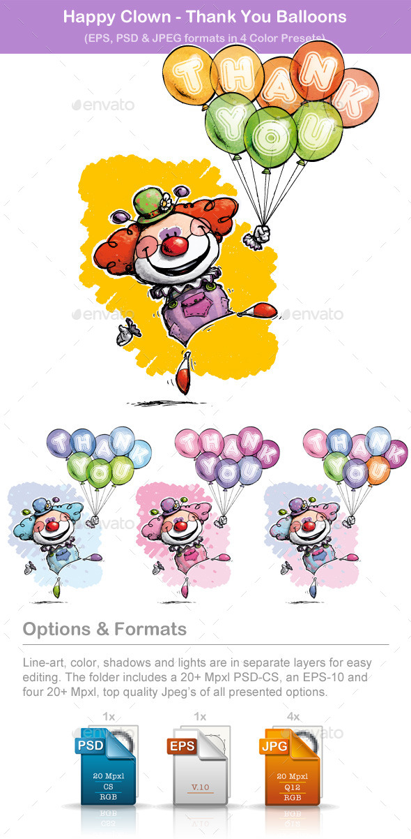GraphicRiver Clown with Balloons Saying Thank You 8894281