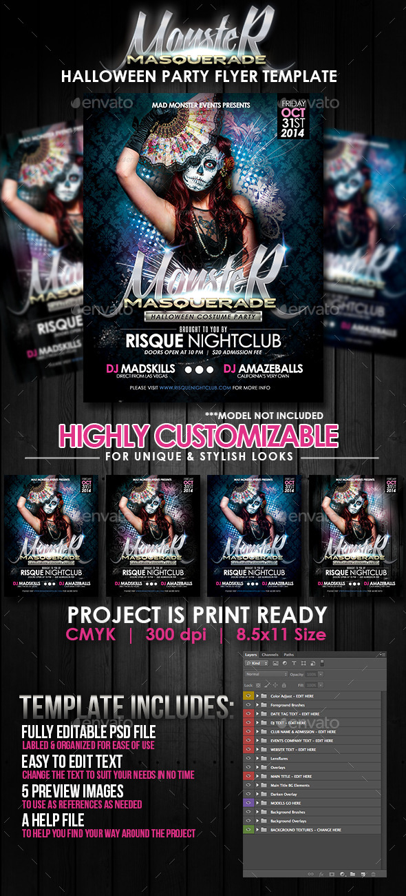 GraphicRiver Monster Masquerade Halloween Party Flyer Template 8894842