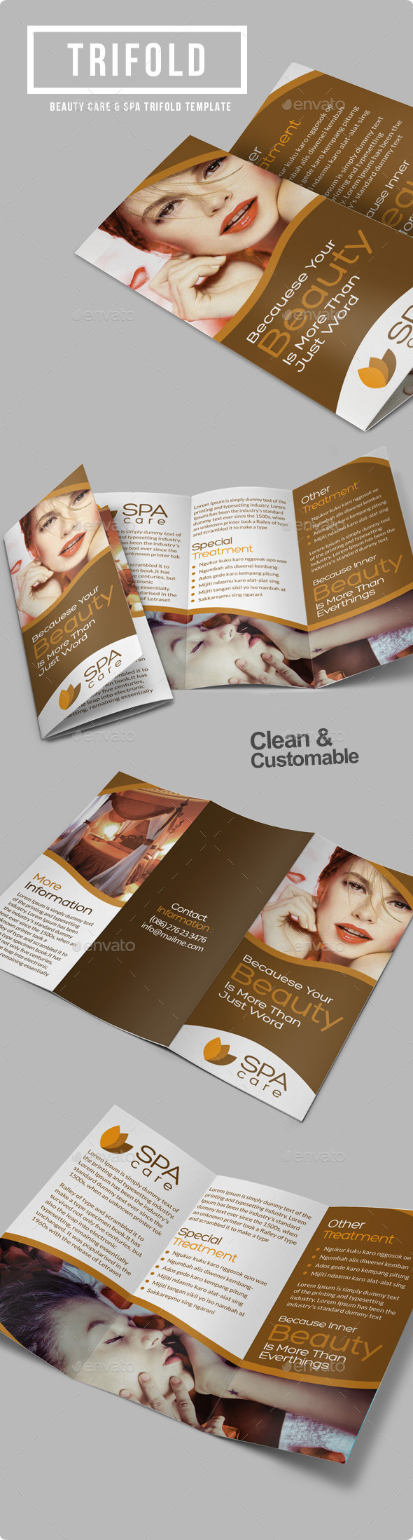 GraphicRiver Beauty Care Spa Trifold Brochure 8895148