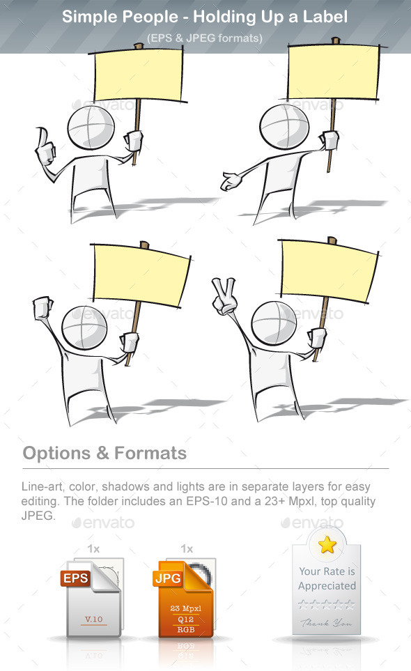 GraphicRiver Simple People Holding Up a Label 8895155