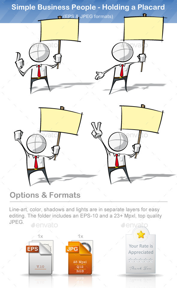 GraphicRiver Simple Business People Holding a Placard 8895340
