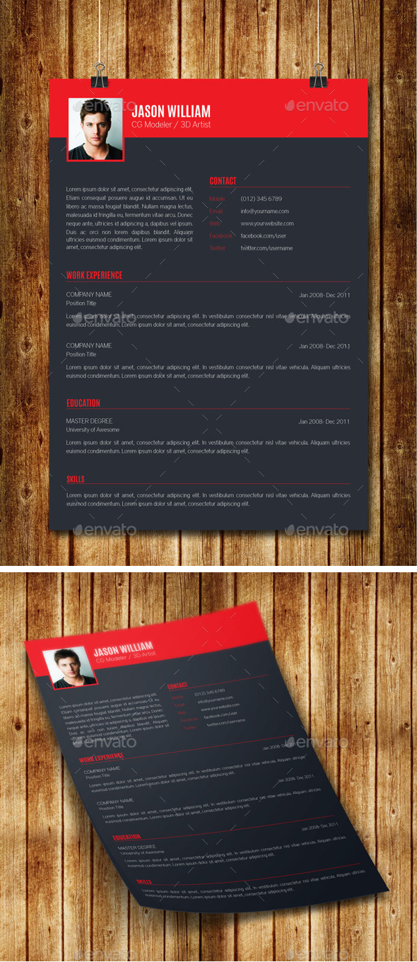 GraphicRiver Clean Modern Resume V10 8895419