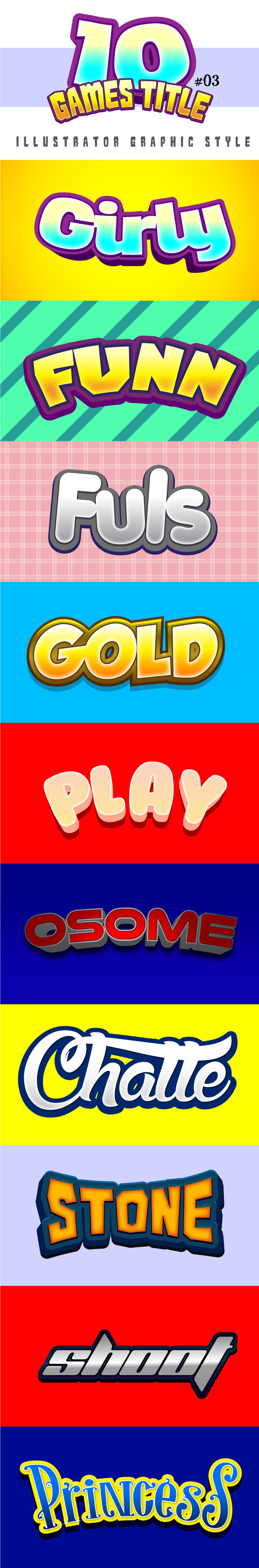 GraphicRiver 10 Games Title Graphic Style #03 8895484