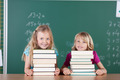 Two pretty young girls with the books in school - PhotoDune Item for Sale