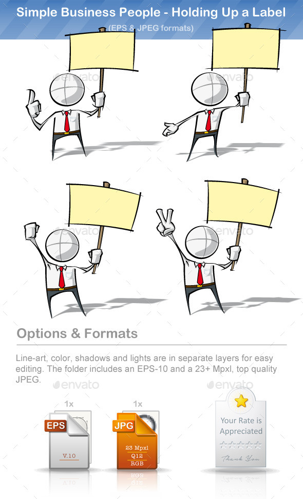 GraphicRiver Simple Business People Holding Up a Label 8895555
