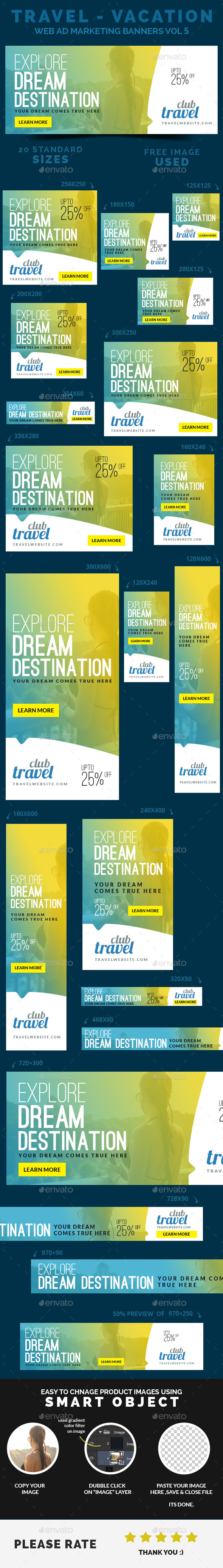 GraphicRiver Travel Vacation Web Ad Marketing Banners Vol 5 8895973