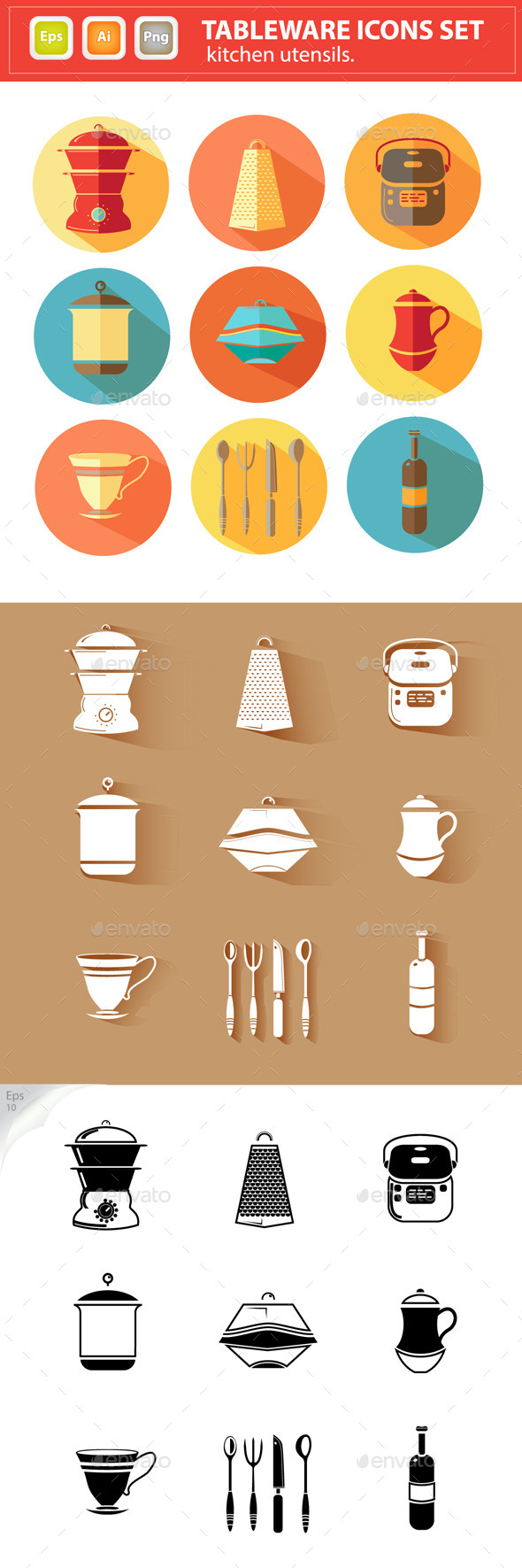 GraphicRiver Vector Tableware Icons Set Kitchen Utensils 8896022