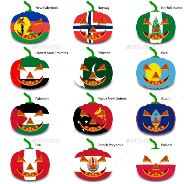 GraphicRiver Set Pumpkins for Halloween as a Flags of the World 8896208