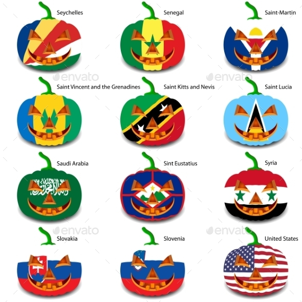 GraphicRiver Set Pumpkins for Halloween as a Flags of the World 8896215