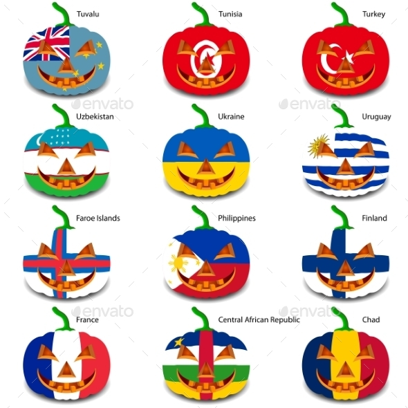 GraphicRiver Set Pumpkins for Halloween as a Flags of the World 8896225