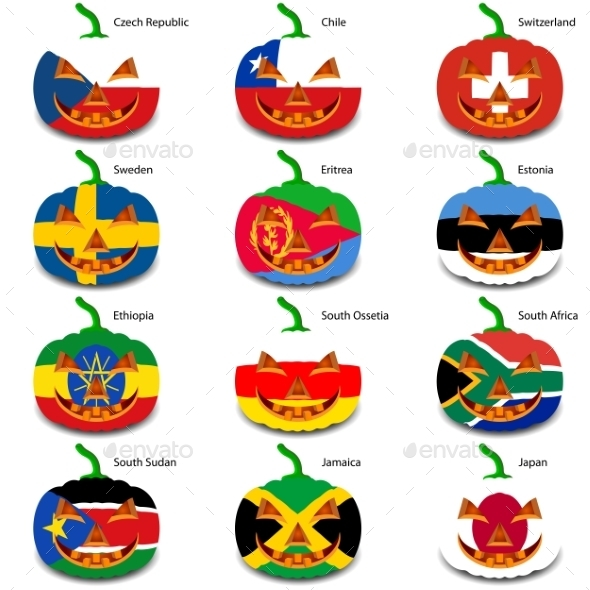 Set Pumpkins for Halloween as a Flags of the World