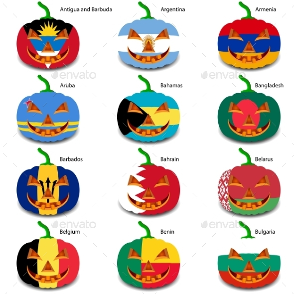 GraphicRiver Set Pumpkins for Halloween as a Flags of the World 8896238