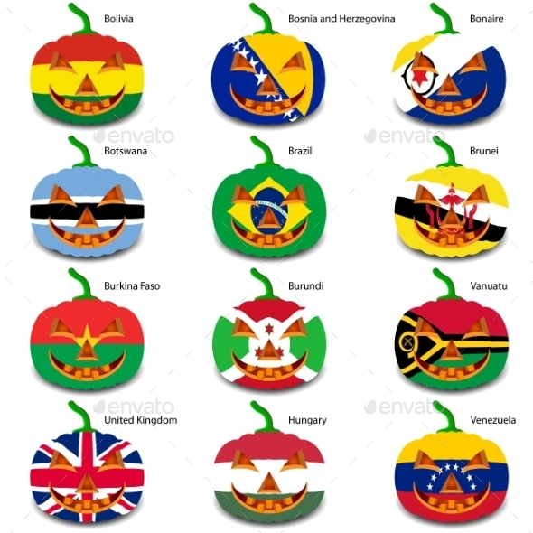 GraphicRiver Set Pumpkins for Halloween as a Flags of the World 8896242