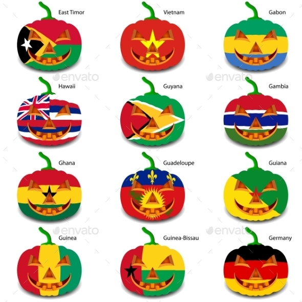 GraphicRiver Set Pumpkins for Halloween as a Flags of the World 8896252