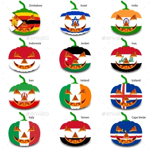 GraphicRiver Set Pumpkins for Halloween as a Flags of the World 8896256