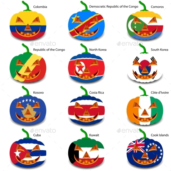GraphicRiver Set Pumpkins for Halloween as a Flags of the World 8896263