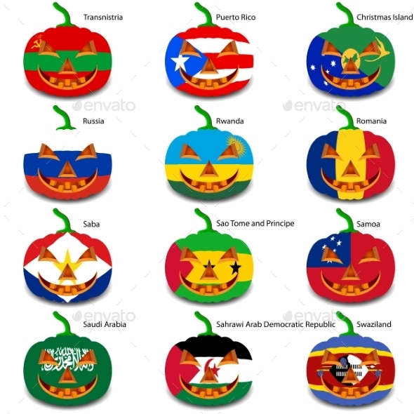 GraphicRiver Set Pumpkins for Halloween as a Flags of the World 8896279