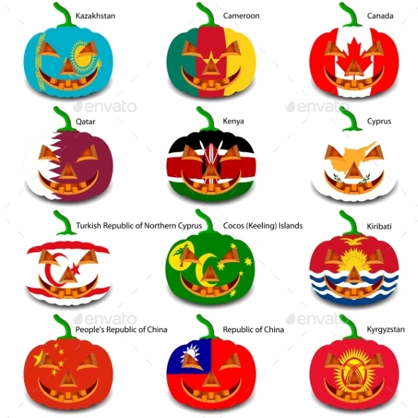 GraphicRiver Set Pumpkins for Halloween as a Flags of the World 8896281