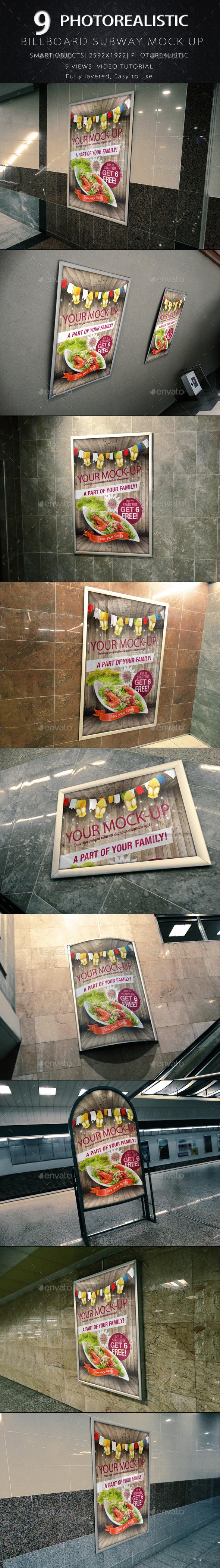 GraphicRiver Billboard Subway Mock-Up 8896520