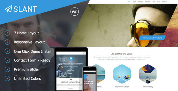 ThemeForest Slant One Page Responsive WordPress Theme 8896880