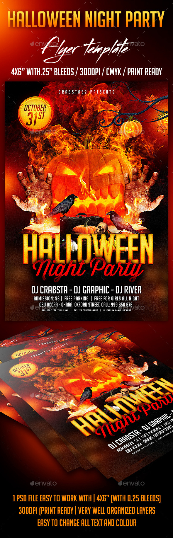 GraphicRiver Halloween Night Party Flyer template 8897190
