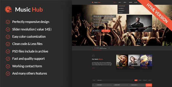 ThemeForest MusicHub Responsive Music Template 8841537