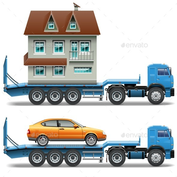 GraphicRiver Vector Trailer with House and Car 8897244