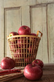 Red apples in metal basket on kitchen table - PhotoDune Item for Sale