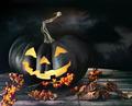 Spooky pumpkin on table - PhotoDune Item for Sale