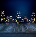 Halloween pumpkins in a dark background and wood floor - PhotoDune Item for Sale