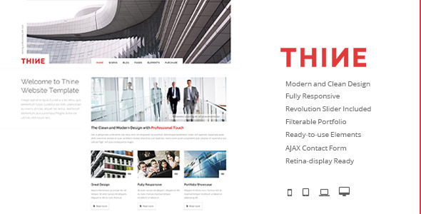 ThemeForest Thine Responsive Modern HTML Template 8897645