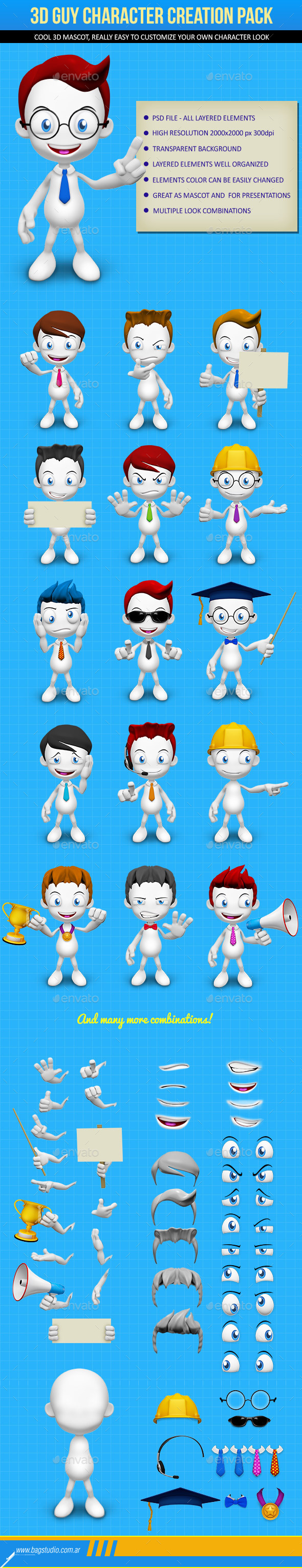 GraphicRiver 3D Guy Character Creation Pack 8897718