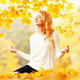 Yoga woman in autumn park - PhotoDune Item for Sale