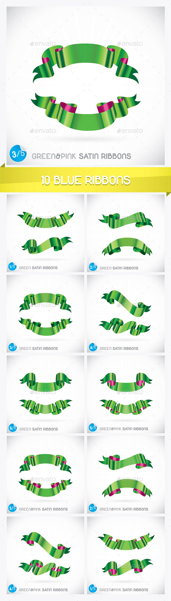 GraphicRiver 10 Green Ribbons 8892002