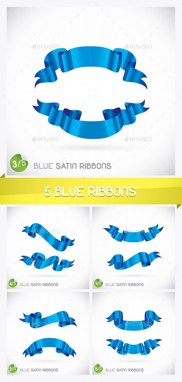GraphicRiver 5 Blue Ribbons 8891989
