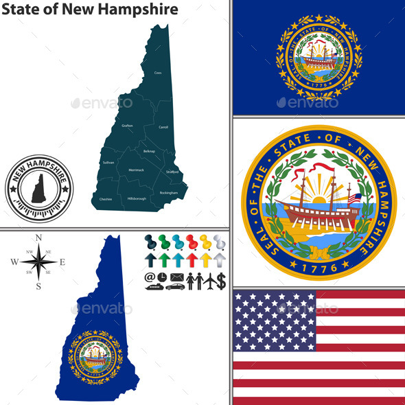 GraphicRiver Map of State New Hampshire USA 8898142
