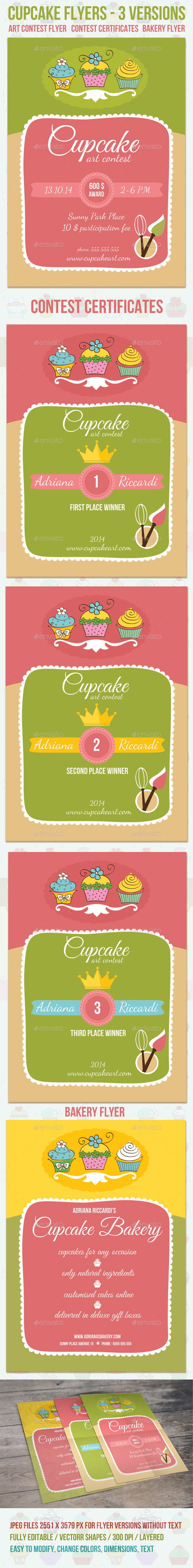 GraphicRiver Cupcake Art Contest and Bakery Flyers 8898159