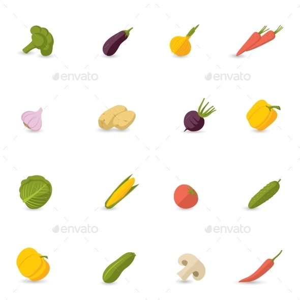 GraphicRiver Vegetables Icons Flat Set 8898603
