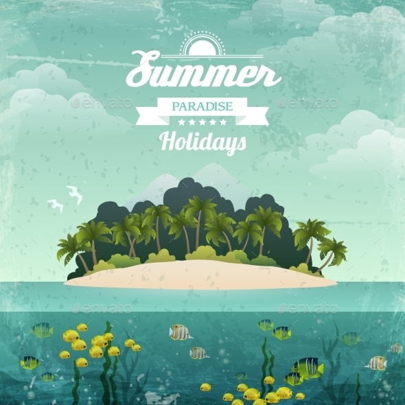 GraphicRiver Tropical Island Vintage Poster 8898643